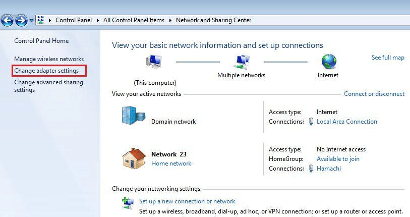 Windows 7 - Network and sharing center - Change adapter settings