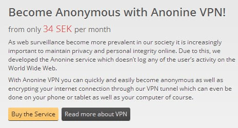 Anonine website - Buy the service