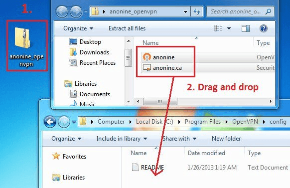 Open ZIP file and drag and drop files to OpenVPN config folder