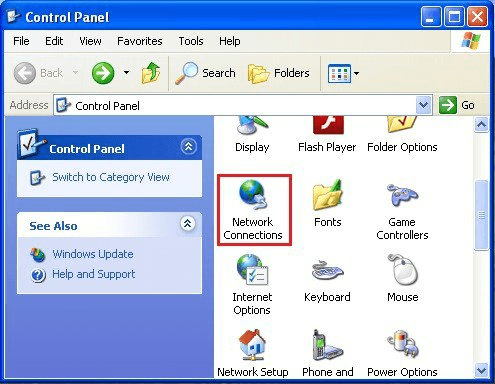 Windows XP - Control Panel - Network Connections