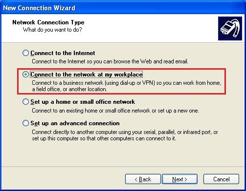 Windows XP - Connect to the network at my workplace