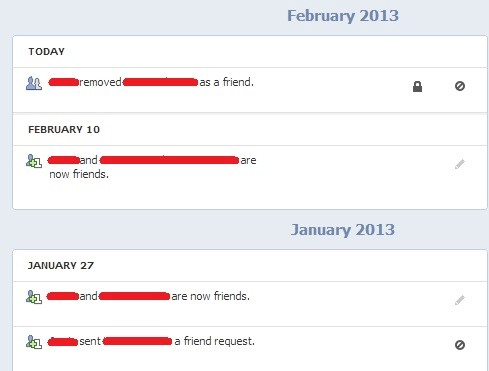 Shows all Friends activity log.