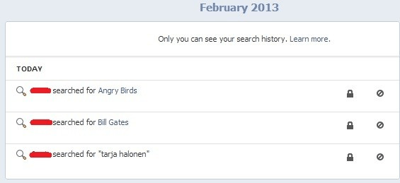 Facebook search history.
