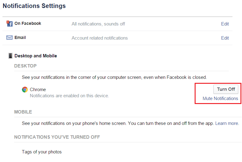 Facebook turn off notifications