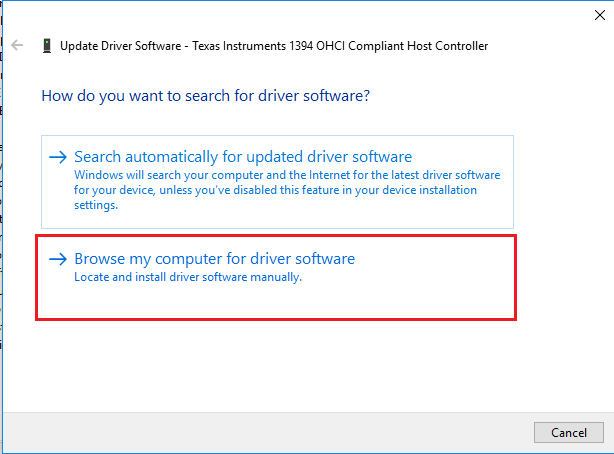 Browse my computer for driver -link in driver settings