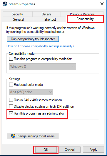 Steam executable compatibility settings