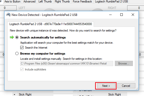 New Device Detected -dialog in x360ce