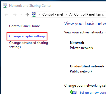 Windows 10 - Network and Sharing Center - Change adapter settings link.