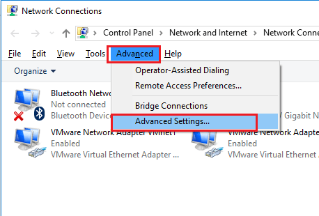 Windows 10 - Network Connections - Advanced Settings