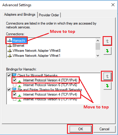 Windows 10 Advanced Settings for Network connection