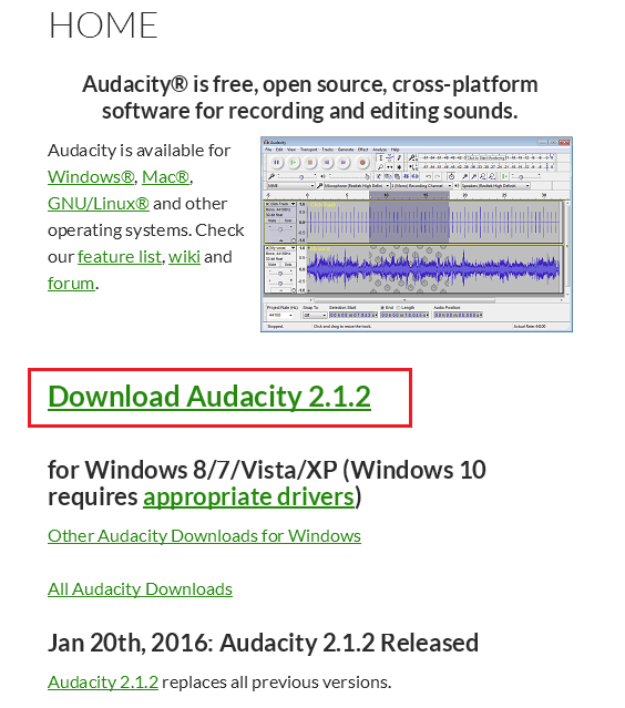 Audacity homepage and download links
