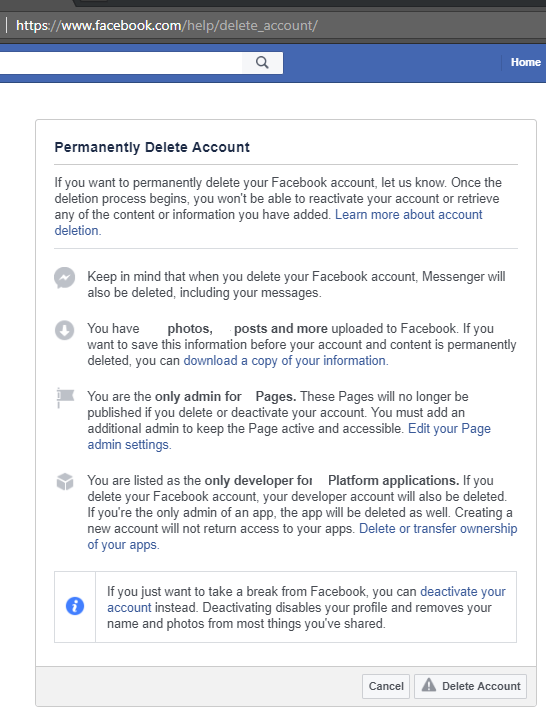 Facebook account deletion screen in web