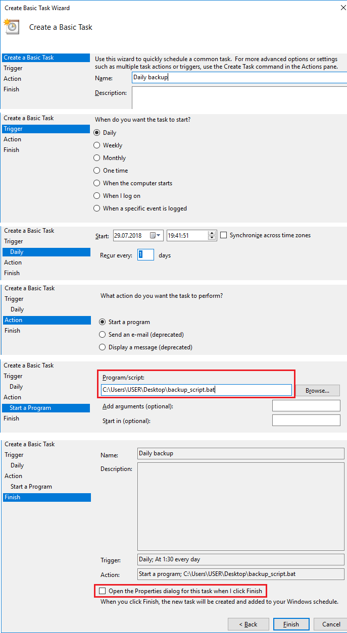 Basic task creation with Task Wizard