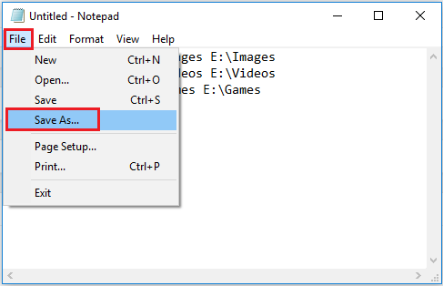 Notepad File and Save As marked with red rectangle.