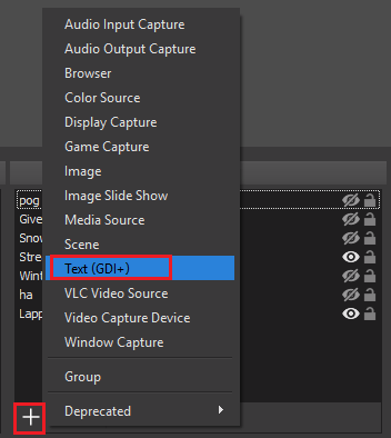 Add Text (GDI+) source to OBS scene