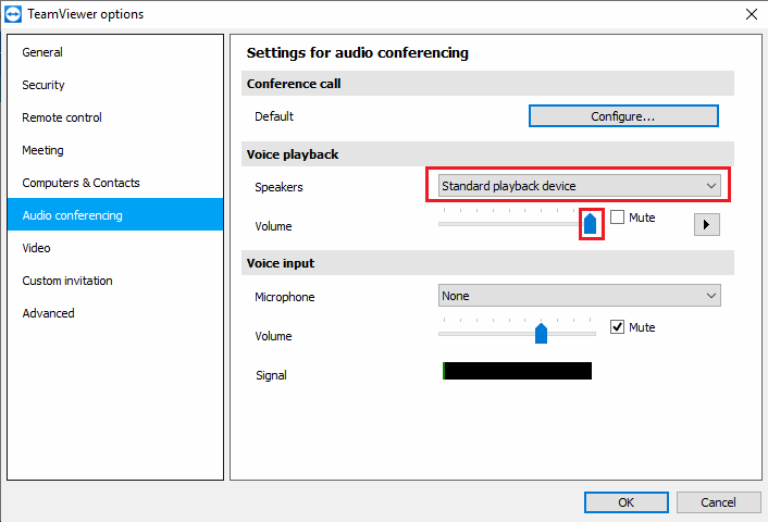 TeamViewer Audio conferencing options