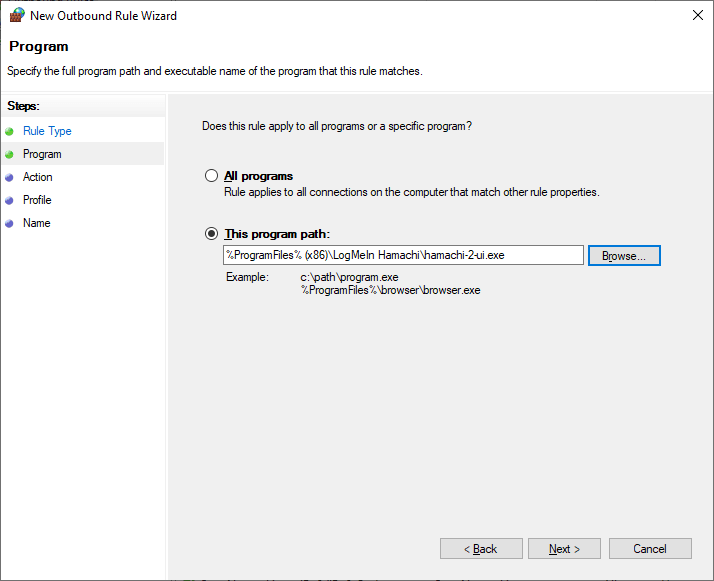 Click next again in the New Outbound Rule Wizard