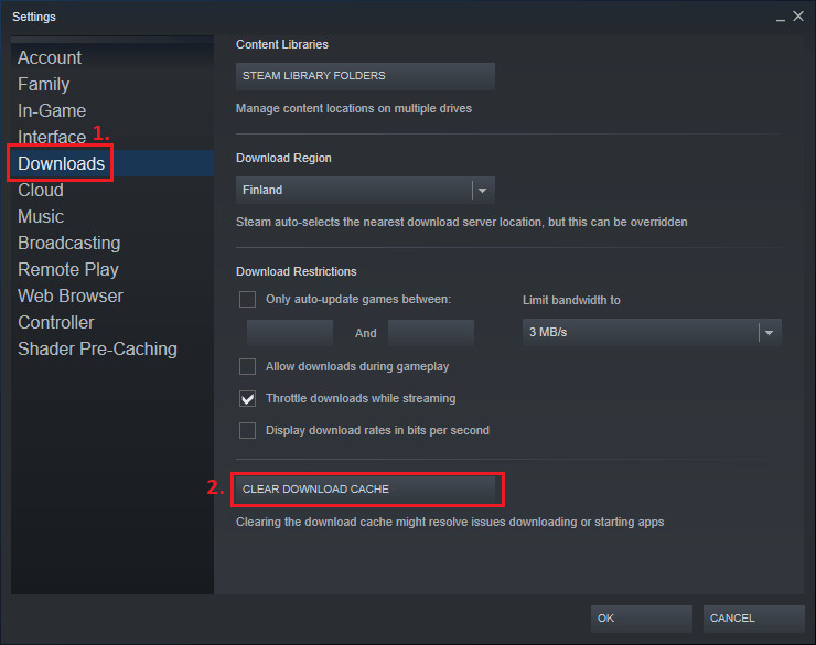 Clear download cache in Steam