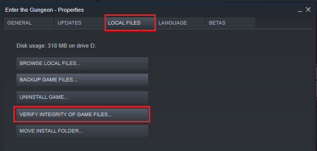 Verify integrity of game files in Steam
