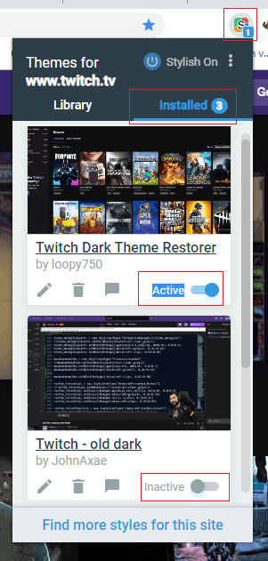 Stylish themes for Twitch