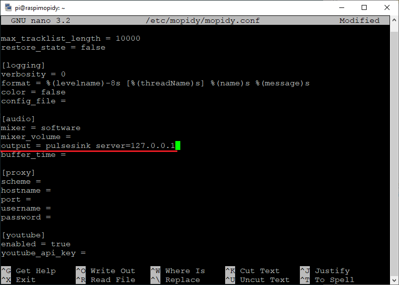 Change audio output to pulsesink server.