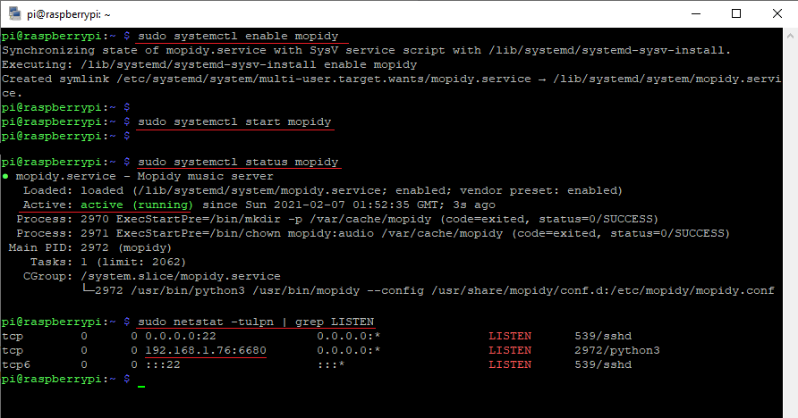 Enable and start mopidy service.