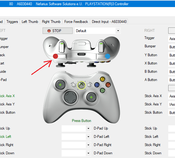 Map the buttons that werent mapped correctly in x360ce.