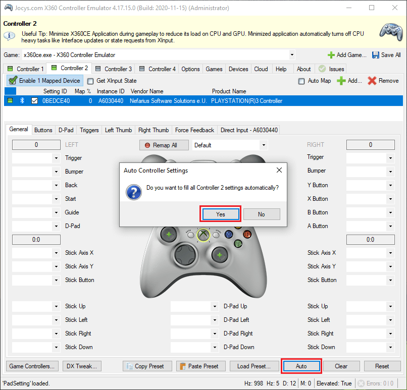 Automatically map PlayStation 3 buttons in x360ce.