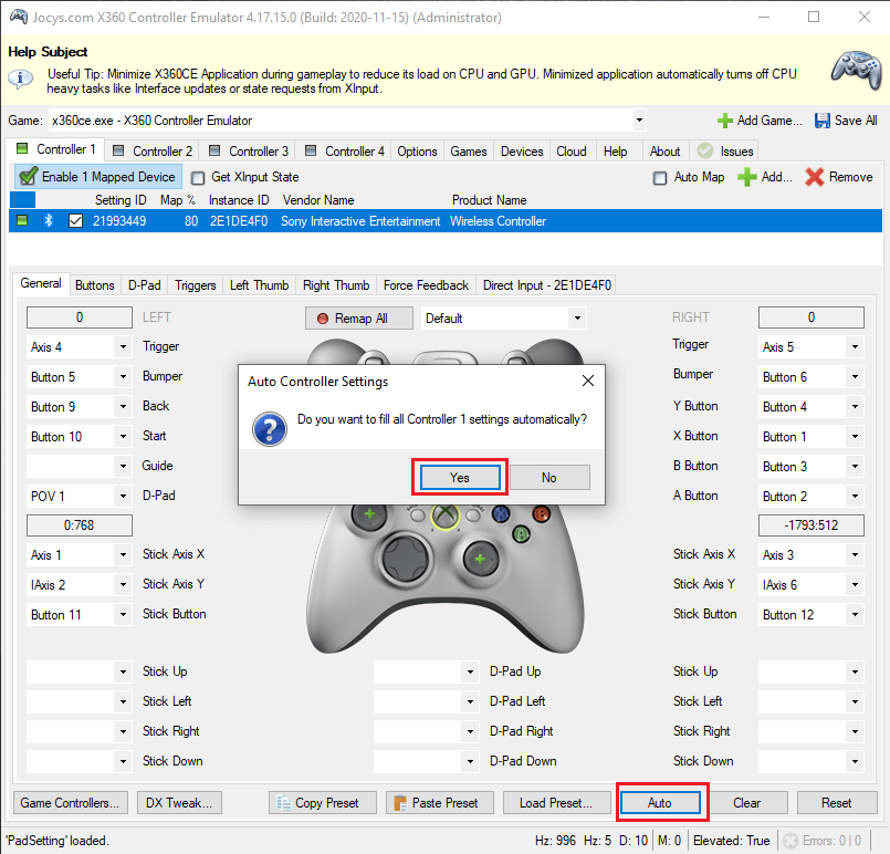 aAutomatically map PlayStation 4 buttons in x360ce.
