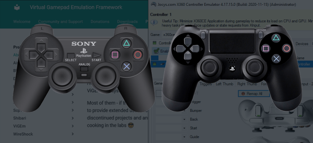Connect PS3 and PS4 controller to PC with x360ce.