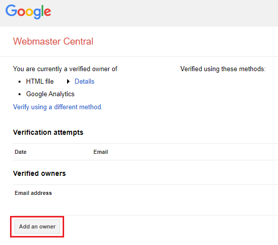 Add new owner to Google Search Console.