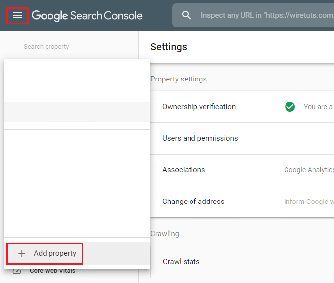 Add new property on Google Search Console.