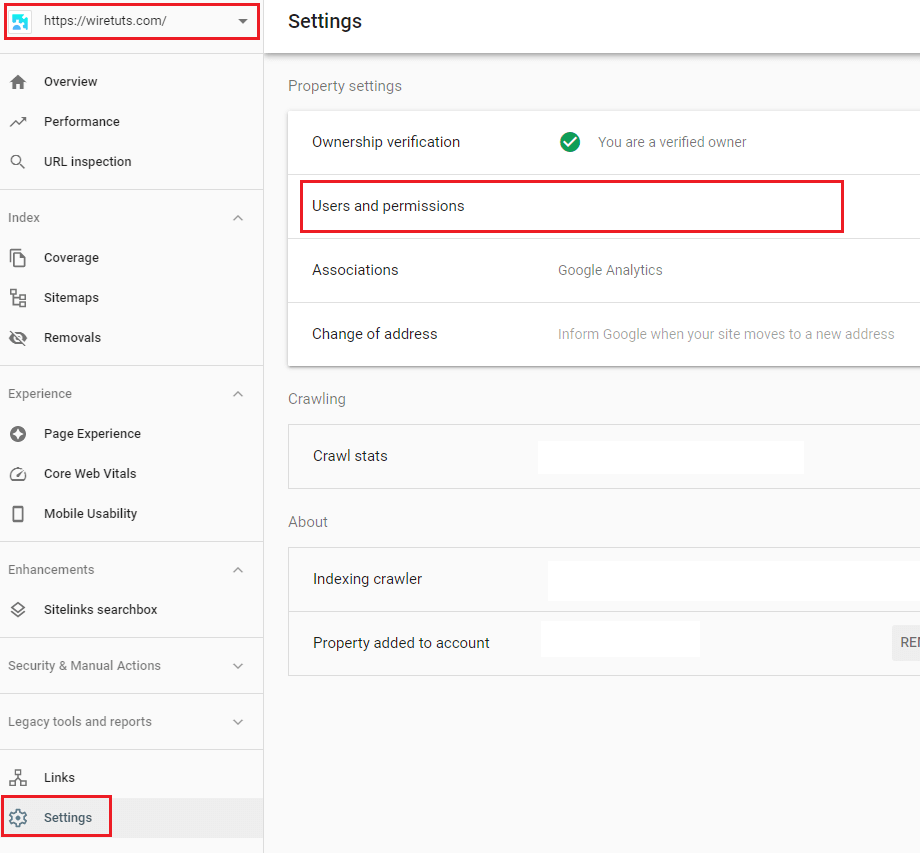 Go to Users and Permissions in Google Search Console.