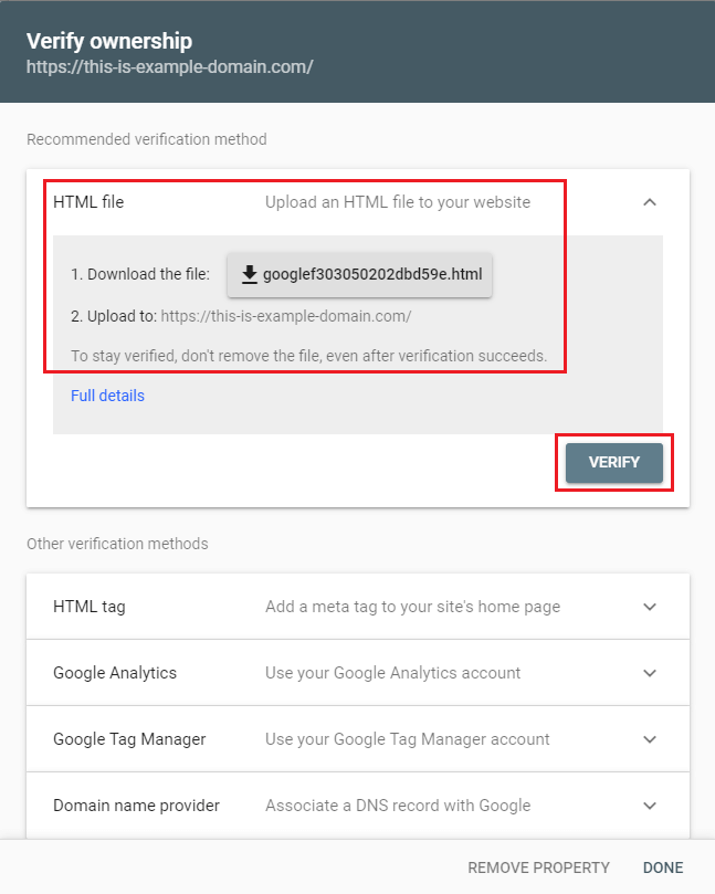 Select verification method for your Google property.