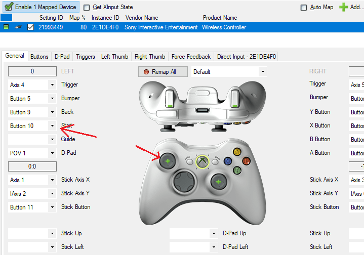 You can map individual buttons by clicking the specifig button with mouse.