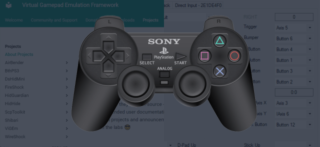 Connect PlayStation 3 controller to PC with ViGem and x360ce