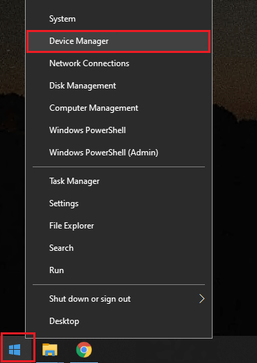 Right-click start menu and select device manager.
